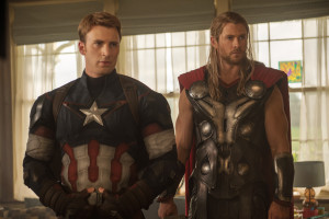 "Captain America/Steve Rogers (Chris Evans, left) and Thor (Chris Hemsworth) appear in ""Marvel's Avengers: Age Of Ultron."" (Jay Maidment, Marvel)"
