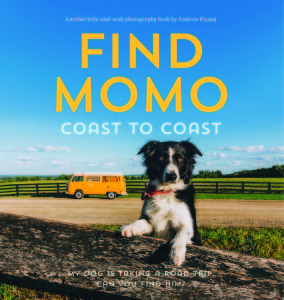 """Find Momo Coast to Coast"" is by Andrew Knapp. The book features a collection of photos Momo, a border collie, almost hiding in each photo.  (Quirk Books)"