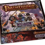 The Pathfinder Adventure Card Game: Wrath of the Righteous Base Set includes: More than 500 cards, featuring seven character classes, a wide array of gear and magical accoutrements, six paths to mythic power, and dozens of allies, monsters, and villains from the Wrath of the Righteous Adventure Path. The Worldwound Incursion Adventure Deck, which begins your journey through the Wrath of the Righteous Adventure Path. A complete set of six polyhedral dice. (Courtesy Paizo Publishing)