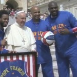 The charming video shows a few members of the team presenting Pope Francis with a jersey emblazoned with his name and invite him to come play at an upcoming game. But the pièce de résistance is when a player helps the pope spin a basketball on his finger. (Courtesy of YouTube)