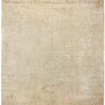 The Declaration of Independence was signed by members of the Continental Congress on July 4, 1776. Historians are baffled by a big, dirty handprint on the bottom lefthand corner.