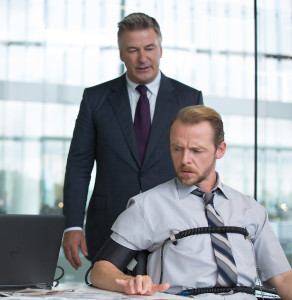 Left to right: Alec Baldwin plays Hunley and Simon Pegg plays Benji in Mission: Impossible - Rogue Nation from Paramount Pictures and Skydance Productions. (Christian Black, Paramount)