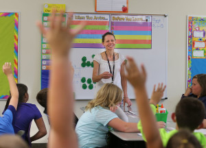 Teresa Klatka, a counselor at Eastside Elementary School, introduces herself to students in a fifth-grade class and leads a discussion about what a counselor does and some of the reasons they may want to talk to her, on Sept. 1, 2015, in Rock Springs, Wyoming. She helps students work on stress management and emotional health, working to ensure that no child slips through the cracks. (Tom Smart, Deseret News)