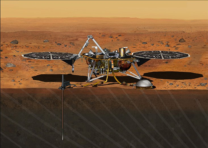 The InSight lander scheduled to launch in 2016 won't range though will mount still and dump a examine into a belligerent to try Mars' core.
