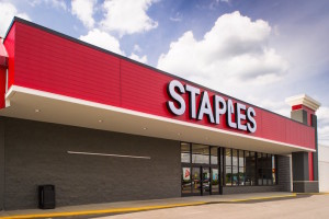 [FILE] An exterior photograph of  the office supply chain store Staples.