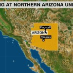 Map of Arizona that pinpoints Flagstaff as well as the capital Phoenix fonted Shooting at Northern Arizona University.