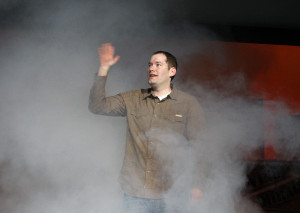 "Brandon Mull waves at the launch party for the fifth book in his Fablehaven series, ""Keys to the Demon Prison,"" at Cottonwood High School in Salt Lake City in March 2010. (Tom Smart, Deseret News)"