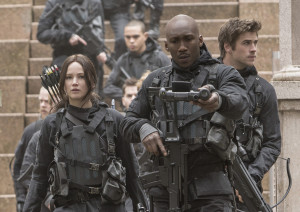 "Katniss Everdeen (Jennifer Lawrence, left), Boggs (Mahershala Ali, center) and Gale Hawthorne (Liam Hemsworth, right) in ""The Hunger Games: Mockingjay — Part 2."" (Murray Close, Lionsgate)"