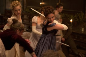 Bella Heathcote and Lily James in Pride and Prejudice and Zombies (2016) (Lionsgate)