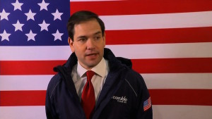 Republican presidential candidate Marco Rubio speaks at a campaign rally in Bow, New Hampshire.