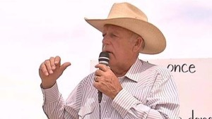 Embargo: Las Vegas  Cliven Bundy talks to supporters April 11, 2014, about the gathering of his cattle by the Bureau of Land Management.