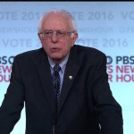 Democratic residential candidate Bernie Sanders during the PBS democratic debate on February 11, 2016.