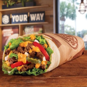 Introducing the Whopperrito, Burger King's latest attempt to tap into consumers' appetite for new menu items. The Whopperrito contains a flame-grilled burger, American cheese, tomatoes, lettuce, mayo, ketchup, pickles and onions wrapped in a flour tortilla.