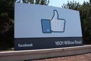 "A giant iconic ""like"" sign greets visitors outside of Facebook's headquarters in Menlo Park California."